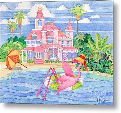 Funky Flamingo Hotel I Metal Print