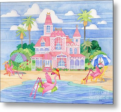 Funky Flamingo Hotel II Metal Print