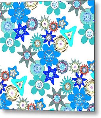 Funky Flower Pattern Metal Print by Methune Hively