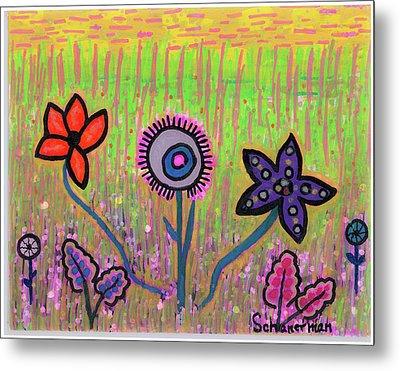 Funky Flowers In A Field Of Green Metal Print