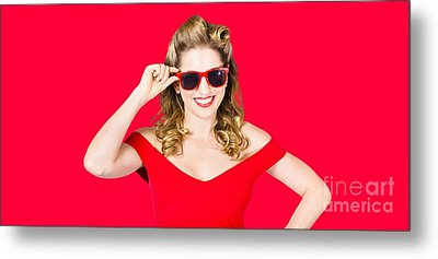 Funky Hip Pin-up Blonde In Summer Sunglasses Metal Print