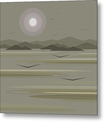 Metal Print featuring the digital art Funky Moon Birds by Val Arie