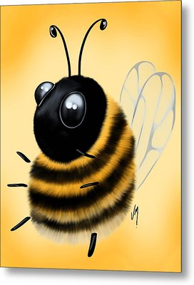 Funny Bee Metal Print by Veronica Minozzi