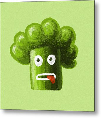 Funny Broccoli Metal Print