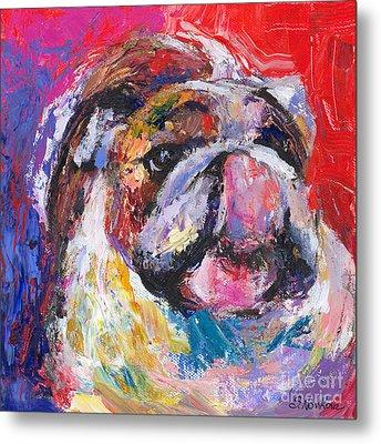 Funny Bulldog Licking His Hose Painting Metal Print by Svetlana Novikova