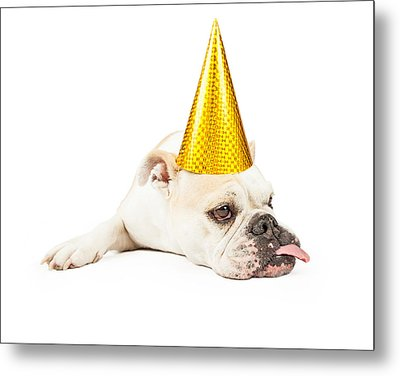 Funny Bulldog Wearing A Yellow Party Hat  Metal Print