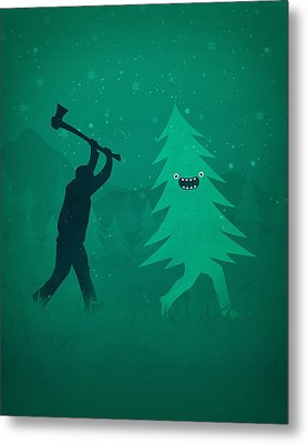 Funny Cartoon Christmas Tree Is Chased By Lumberjack Run Forrest Run Metal Print