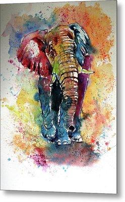 Metal Print featuring the painting Funny Elephant by Kovacs Anna Brigitta