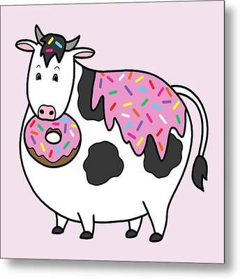 Funny Fat Holstein Cow Sprinkle Doughnut Metal Print by Crista Forest