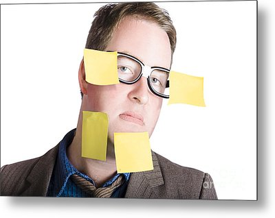Funny Man With Yellow Sticky Notes On Face Metal Print