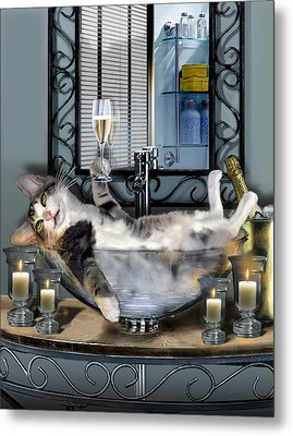 Funny Pet Print With A Tipsy Kitty  Metal Print by Regina Femrite