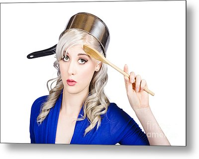 Funny Pin Up Housewife Saluting For Cooking Duties Metal Print by Jorgo Photography - Wall Art Gallery