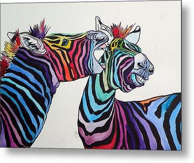 Funny Zebras Metal Print by Kovacs Anna Brigitta