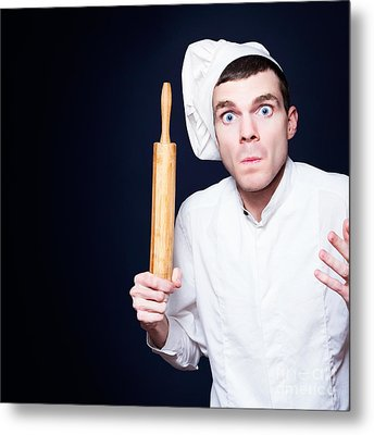 Furious Young Male Cook Holding Rolling Pin Metal Print by Jorgo Photography - Wall Art Gallery