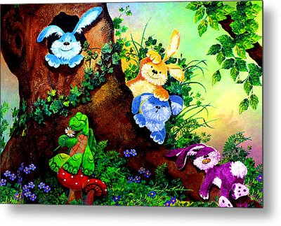 Furry Forest Friends Metal Print by Hanne Lore Koehler
