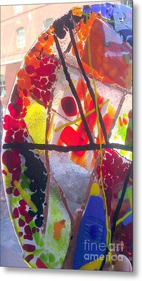 Fused Glass Hand Made Lamp Shades Metal Print by Laura Miller