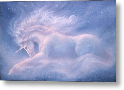 Future Dreaming Unicorn Metal Print by Jack Shalatain