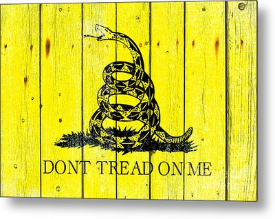 Gadsden Flag On Old Wood Planks Metal Print by M L C