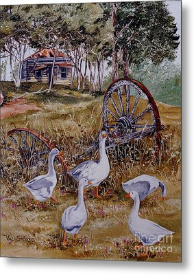 Gaggling Geese Metal Print by Val Stokes