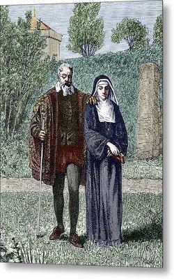 Galileo And His Daughter Maria Celeste Metal Print