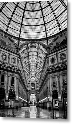 Galleria Milan Italy Bw Metal Print by Joan Carroll