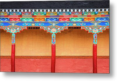 Metal Print featuring the photograph Gallery In A Buddhist Monastery by Alexey Stiop