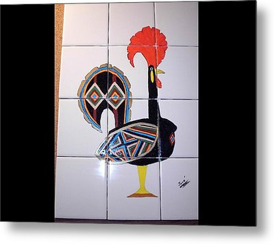 Metal Print featuring the ceramic art Galo De Barcelos by Hilda and Jose Garrancho