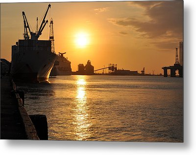 Metal Print featuring the photograph Galveston Harbor by John Collins