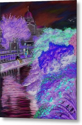 Galway Cathedral View Fron The Canal Metal Print by Vanda Luddy