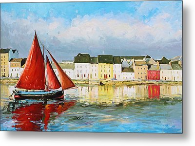 Galway Hooker Leaving Port Metal Print by Conor McGuire