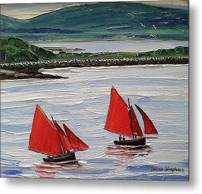 Galway Hookers Sailing By Roundstone Harbour Connemara Ireland Metal Print