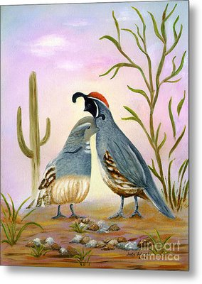 Gambel Quails Friends Forever Metal Print by Judy Filarecki
