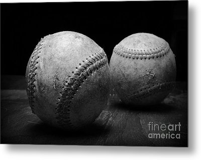 Game Used Baseballs In Black And White Metal Print by Paul Ward