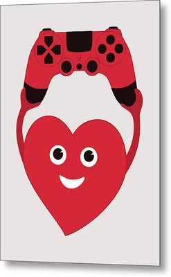 Gamer Heart Metal Print