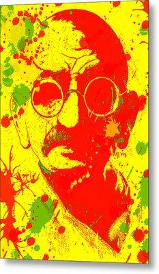 Gandhi Splatter Metal Print