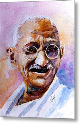 Metal Print featuring the painting Gandhi by Steven Ponsford
