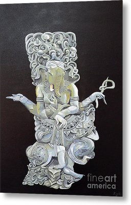 Metal Print featuring the painting Ganesh The Elephant God by Eric Kempson