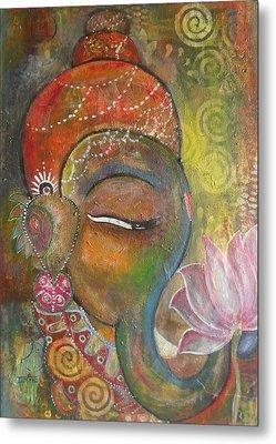Ganesha With A Pink Lotus Metal Print by Prerna Poojara