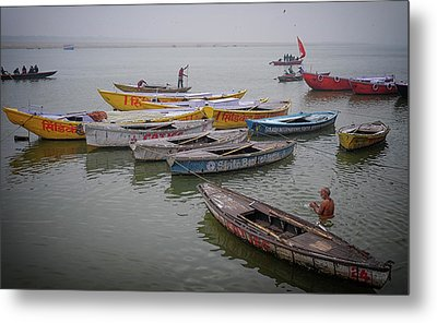 Ganges River Boats Metal Print by David Longstreath