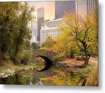 Metal Print featuring the photograph Gapstow Bridge Reflections by Jessica Jenney
