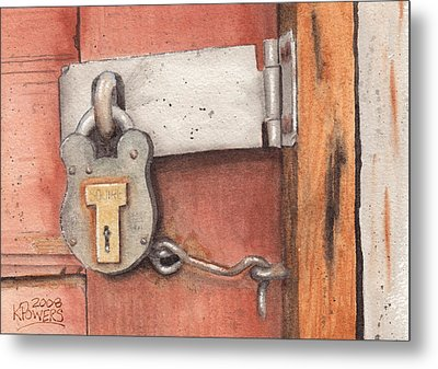 Garage Lock Number Four Metal Print by Ken Powers