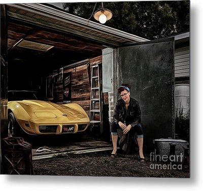 Garage Portrait Metal Print by Brad Allen Fine Art