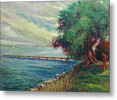 Metal Print featuring the painting Garda Lake -lago Garda by Walter Casaravilla