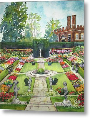 Metal Print featuring the painting Garden At Hampton Court Palace by Susan Herbst