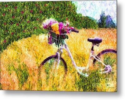 Garden Bicycle Print Metal Print