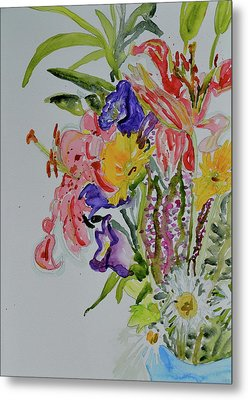 Metal Print featuring the painting Garden Bouquet by Beverley Harper Tinsley