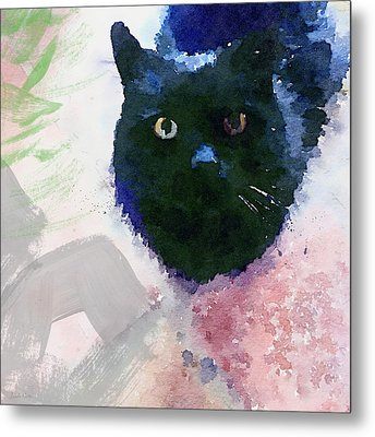 Garden Cat- Art By Linda Woods Metal Print by Linda Woods