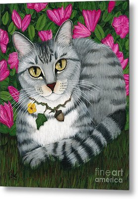Metal Print featuring the painting Garden Cat - Silver Tabby Cat Azaleas by Carrie Hawks