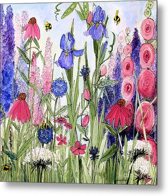 Metal Print featuring the painting Garden Cottage Iris And Hollyhock by Laurie Rohner