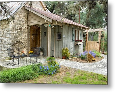 Metal Print featuring the tapestry - textile Garden Cottage by Kathy Adams Clark